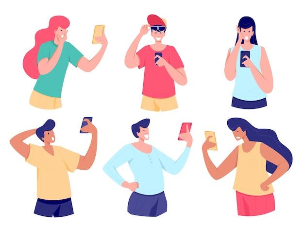 웃고 놀란 남자, 스마트 폰을보고 충격을받은 여성 디스플레이 스마트 폰을보고 충격을 받거나 웃고, 웹의 미디어 콘텐츠에 감동을받은 젊은 사람들을 닫습니다. 평면 그림.