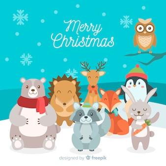 Smiling animals christmas background