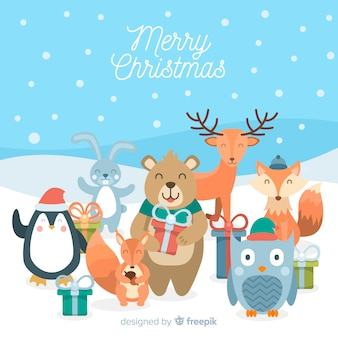 Smiling animals with gifts christmas background