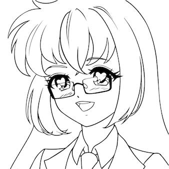Улыбающаяся девочка аниме с сердечками в глазах и в очках. икона портрет. контурная векторная иллюстрация. черные линии, изолированные на белом.