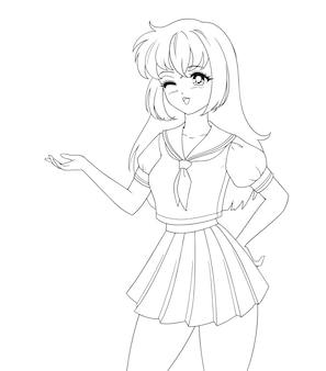 白い背景で隔離の制服を着て笑顔のアニメマンガの女の子