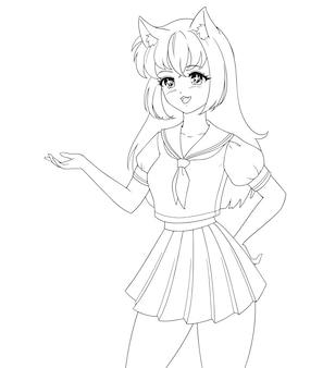 Smiling anime manga girl with cat ears wearing school uniform isolated