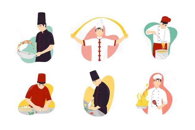 Улыбающийся азиатский шеф-повар готовит традиционный восточный фастфуд. профессиональный повар готовит сашими, вок, нарезку овощей, замешивание теста.