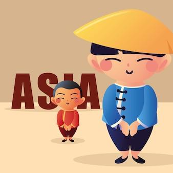 アジアのグループの男性の笑顔