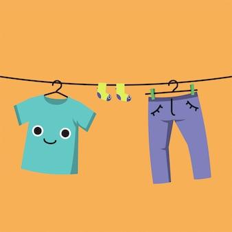 옷 라인, 서식지 아이 카드 또는 포스터에 웃는 아기 옷.
