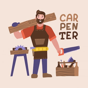 Smiling bearded carpenter holding hand saw and wooden board. full length of young cheerful man carpenter chacacter with carpentry tools.   flat illustration
