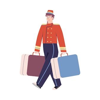 レトロな制服を着た笑顔のベルボーイは、ホテルのスタッフのスーツケースベクトルフラット漫画イラストを運びます...