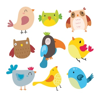 Smiling birds collection