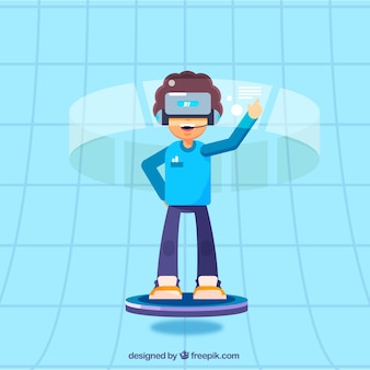 Smiling boy in blue virtual space