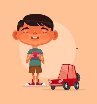 ラジコンカーで遊ぶ笑顔の少年キャラクター