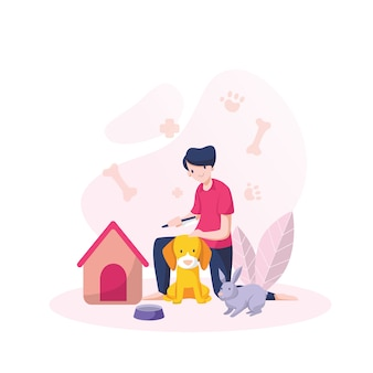 Smiling boy combing dog and rabbit  isolated