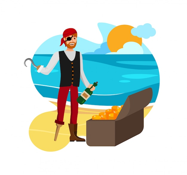 Smiling buccaneer found loot vector illustration