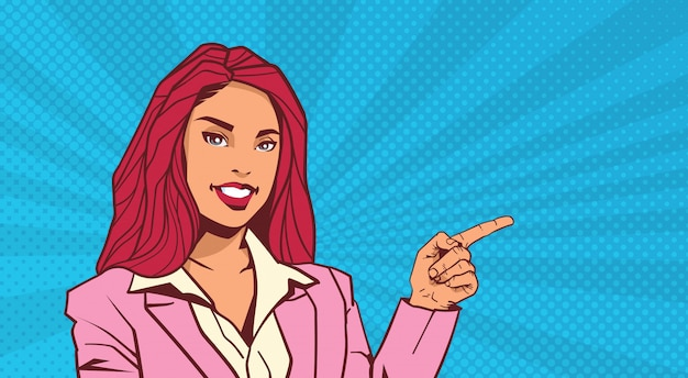 Smiling business woman point finger to copyspace over pop art dot background retro style