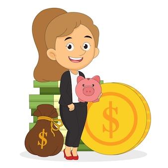큰 분홍색 돼지에 돈을 걸고 웃는 비즈니스 우먼