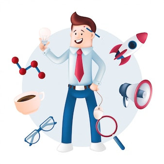 Smiling businessman dressed in a blue shirt with icons around - rocket, megaphone, magnifying glass, mug, glasses. character with a light bulb, computer mouse in hand and pencil behind the ear