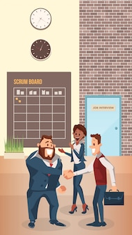 Улыбающийся бизнесмен пожать руку в современном офисе