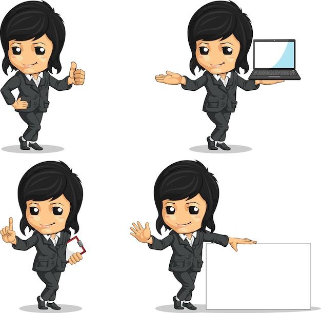 Улыбающийся талисман бизнес-леди в разных позах