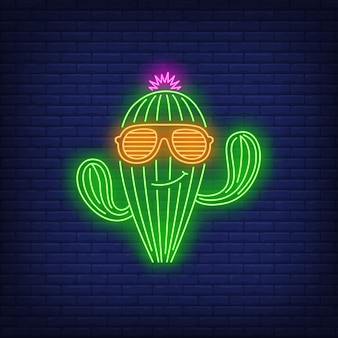 Smiling cactus character wearing sunglasses neon sign