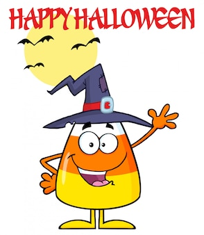Smiling candy corn cartoon character with a witch hat waving