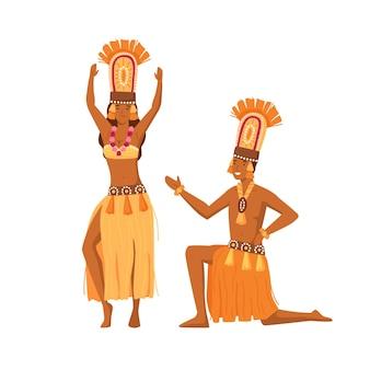 웃는 만화 원주민 남자와 여자가 함께 춤을 추고 벡터 평면 그림입니다. 흰색으로 격리된 전통적인 부족 옷을 입은 행복한 원주민들. 화려한 의상을 입은 아프리카 인간.