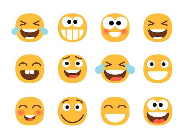 Smiling cartoon emoji set