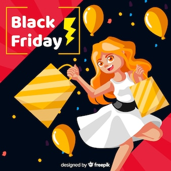 Smiling cartoon girl black friday background