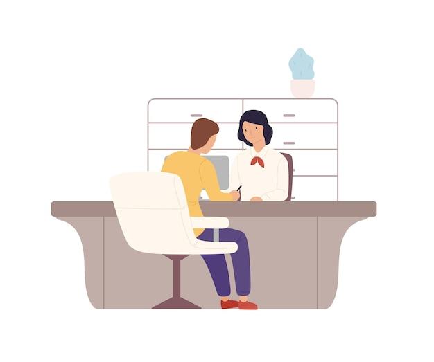 笑顔の漫画の女性銀行員と男性の顧客は、オフィスのベクトルフラットイラストでドキュメントに署名します。白で隔離される男性のクライアントにサービスを提供するカラフルな女性。支払い事務所の人。