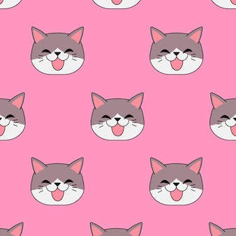 Smiling cat in seamless pattern on pink background. best design for gift wrap. vector illustration.