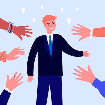 연예인 인사 사람 웃 고 손을 흔들고. 스타, 팬, 유명한 사람 그림. 배너, 웹 사이트 또는 방문 웹 페이지에 대한 명성, 인기 및 군중 개념