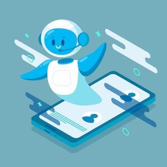 문제 해결을 돕는 웃는 채팅 봇 캐릭터 로봇. 웹사이트 또는 모바일 애플리케이션용.