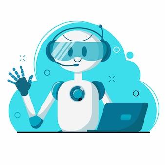 Улыбающийся робот-персонаж чат-бота помогает решать проблемы. для сайта или мобильного приложения.