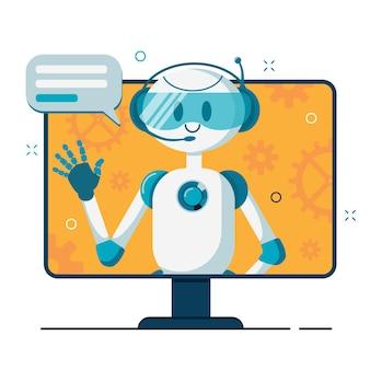 Улыбающийся робот-персонаж чат-бота помогает решать проблемы. онлайн поддержка.