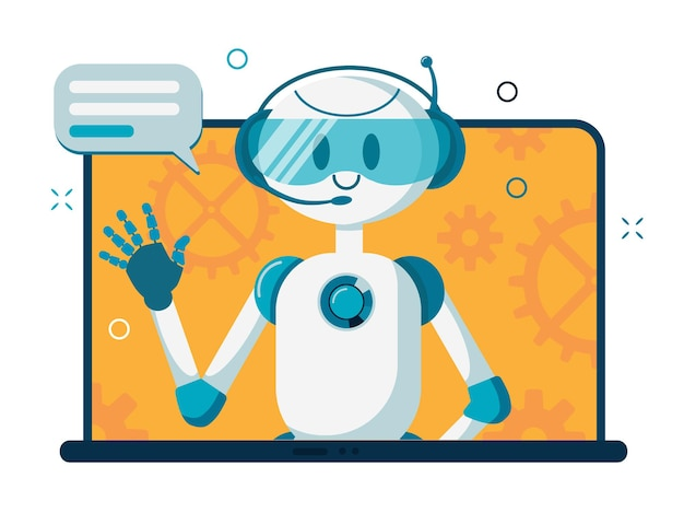 Smiling chat bot character robot helping solve a problems.