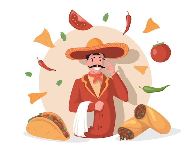 Smiling chef in big mexican hat sombrero vector flat illustration