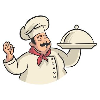 플래터를 들고 웃는 요리사 만화 캐릭터