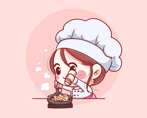 Smiling chef female. woman chef is cooking fun. hand drawn illustration