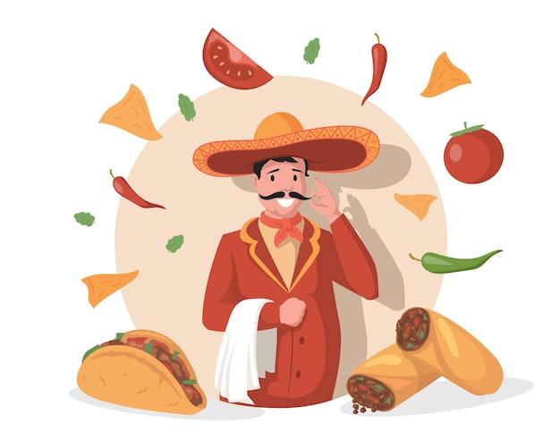 큰 멕시코 모자 솜브레로 벡터 평면 그림에 웃는 요리사