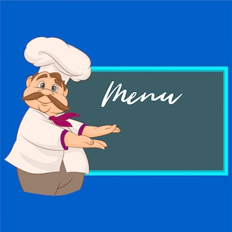 A smiling chef pointing on a blackboard