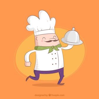 Улыбающийся повар с подносом