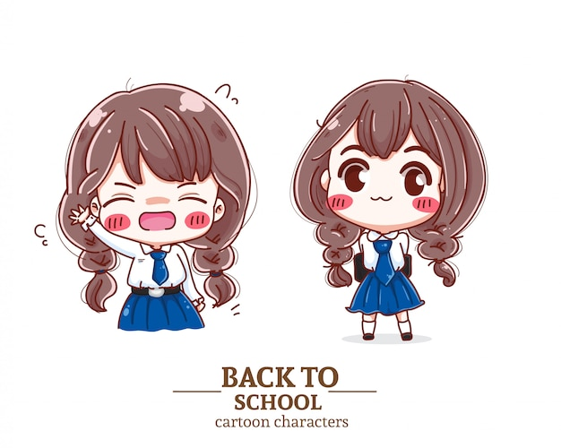 Smiling children student uniform  back to school    illustration logo.