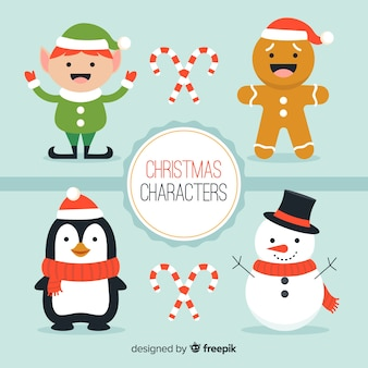 Smiling christmas characters collection