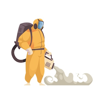 Smiling cleaner in protective suit cleaning floor flat