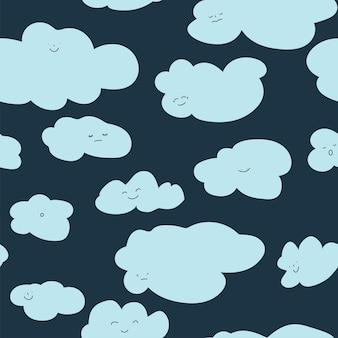 笑顔の雲のキャラクター、ふわふわのcloudscapeシームレスパターン。顔の表情、夢のようなポスター、保育園やキッズカードのデザインの背景を持つキャラクター。フラットスタイルイラストのベクトル