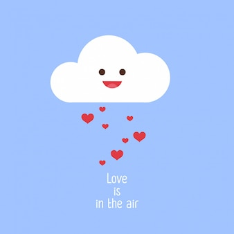 Smiling cloud and hearts rain. cute valentines illustration