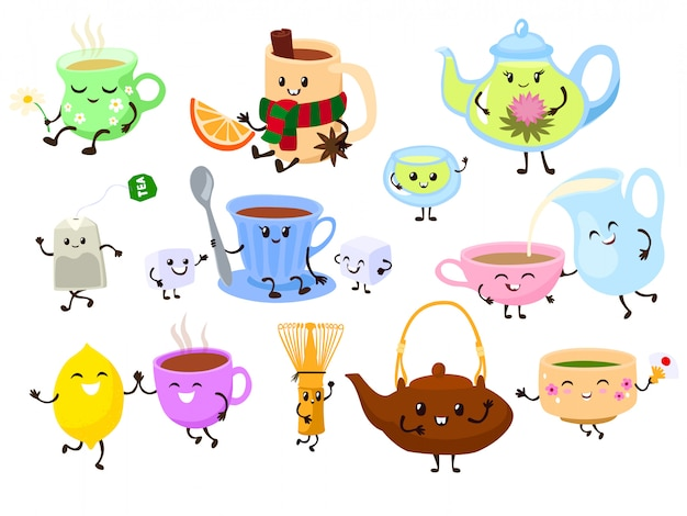 Smiling colorful tea cup, kettle on comic cartoon health food drink isolated on white.