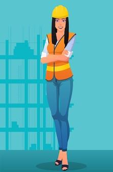 Улыбаясь женщина-строитель, носить рабочую форму и шлем изображения