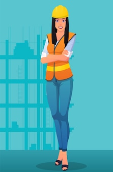 Smiling construction worker woman wearing work uniform and helmet  image