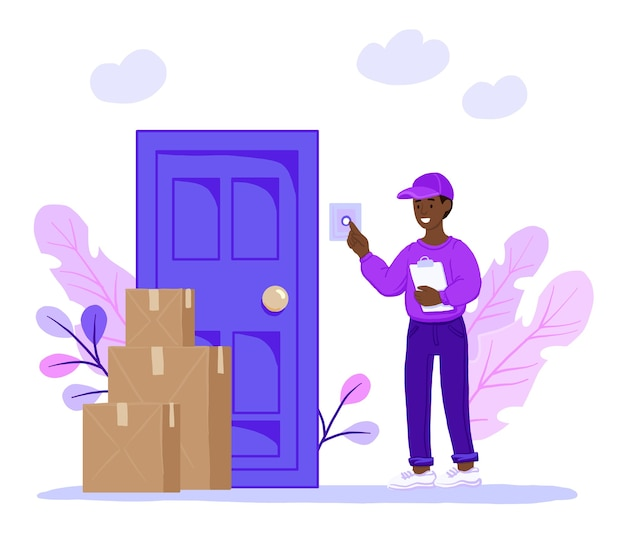 Smiling courier rings the door of the house.