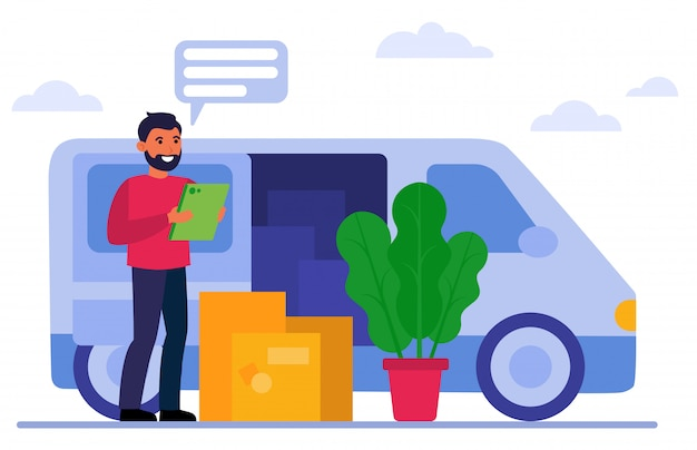 Улыбающийся курьер стоит возле фургона и коробок