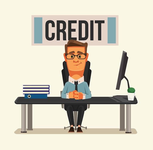 Улыбающийся персонаж кредитного менеджера, сидя в офисе банка.